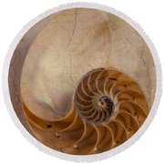 Earthy Nautilus Shell  Round Beach Towel