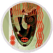 Earthy Woman Round Beach Towel
