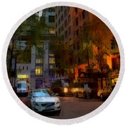 East 44th Street - Rhapsody In Blue And Orange - Close View Round Beach Towel