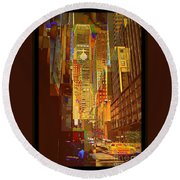East 45th Street - New York City Round Beach Towel