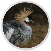 East African Crowned Crane Painterly Round Beach Towel