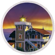 East Brother Lighthouse Round Beach Towel