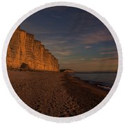 East Cliff Sunset Dorset Round Beach Towel