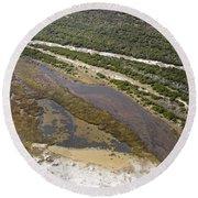 East Coast Aerial Near Jekyll Island Round Beach Towel