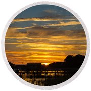 East Coast Sunset Round Beach Towel