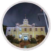 East Greenwich Town House At Night Round Beach Towel