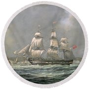 East Indiaman Hcs Thomas Coutts Off The Needles     Isle Of Wight Round Beach Towel by Richard Willis