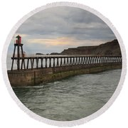 East Pier Whitby Round Beach Towel