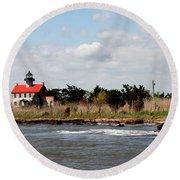 East Point Lighthouse II Round Beach Towel