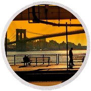 East River Sunset Round Beach Towel