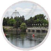 East Riverfront Park And Dam - Spokane Washington Round Beach Towel