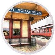 East Strasburg Station Round Beach Towel