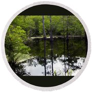East Texas Cyprus Pond Round Beach Towel