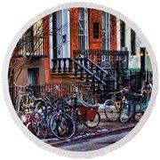 East Village Bicycles Round Beach Towel