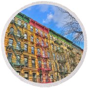 East Village Buildings On East Fourth Street And Bowery Round Beach Towel