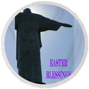 Easter Blessings Card Round Beach Towel