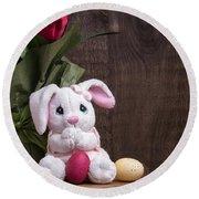 Easter Bunny Card Round Beach Towel