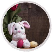 Easter Bunny Round Beach Towel by Edward Fielding