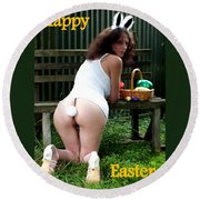 Easter Card 1 Round Beach Towel