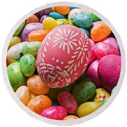 Easter Egg And Jellybeans  Round Beach Towel