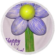 Easter Egg Flower Round Beach Towel
