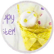Easter Eggs In Basket Round Beach Towel