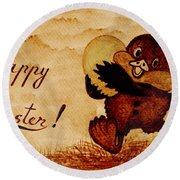 Easter Golden Egg Coffee Painting Round Beach Towel