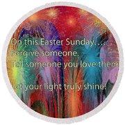 Easter Inspiring Digital Painting Round Beach Towel