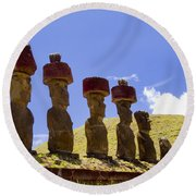 Easter Island Statues  Round Beach Towel