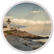 Eastern Point Lighthouse Round Beach Towel