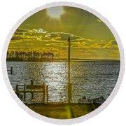 Eastern Shore Sunset Round Beach Towel