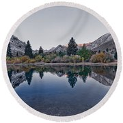 Eastern Sierras Reflection Round Beach Towel