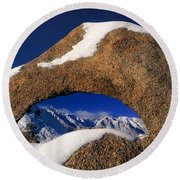 Eastern Sierras Through Snow Covered Arch Round Beach Towel