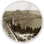 Eastern Span Of San Francisco-  Oakland Bay Bridge Circa 1937 Round Beach Towel
