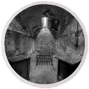 Eastern State Penitentiary Bw Round Beach Towel