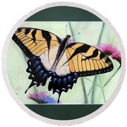 Eastern Tiger Swallowtail Butterfly By George Wood Round Beach Towel