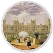 Eastern View Of The Castle And Garden Round Beach Towel
