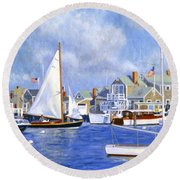 Easy Street Basin Blues Round Beach Towel by Candace Lovely