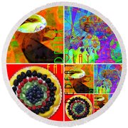 Eat Drink Play Repeat 20140705 Round Beach Towel