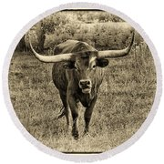 Eat Leaf Not Beef Sepia Round Beach Towel