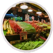 Eat Your Fruits And Vegetables Round Beach Towel