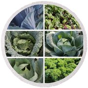 Eat Your Greens Round Beach Towel