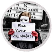 Eat Your Vegetables Round Beach Towel