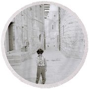 Innocence Of Childhood Round Beach Towel