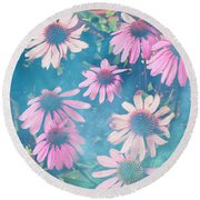 Echinacea Flowers Round Beach Towel