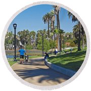 Echo Park Los Angeles Round Beach Towel