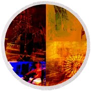 Eclectic Things Collage Round Beach Towel