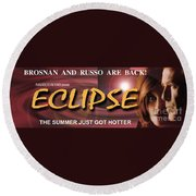 Eclipse Faux Movie Banner Round Beach Towel