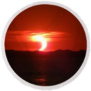 Eclipse Over Marion Reservoir 2 Round Beach Towel