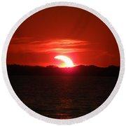 Eclipse Over Marion Reservoir 3 Round Beach Towel